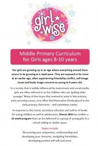 Girl Wise Middle Primary Curriculum by Speaker Sharon Witt