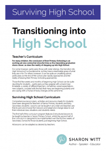 Preparing For High School Curriculum by Sharon Witt